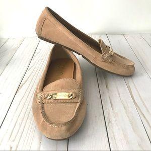 Calvin Klein Tan Suede Lunasi Loafers Sz 8